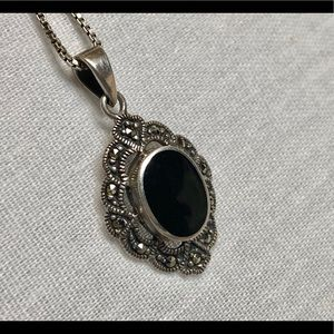 Vintage Sterling Onyx Necklace